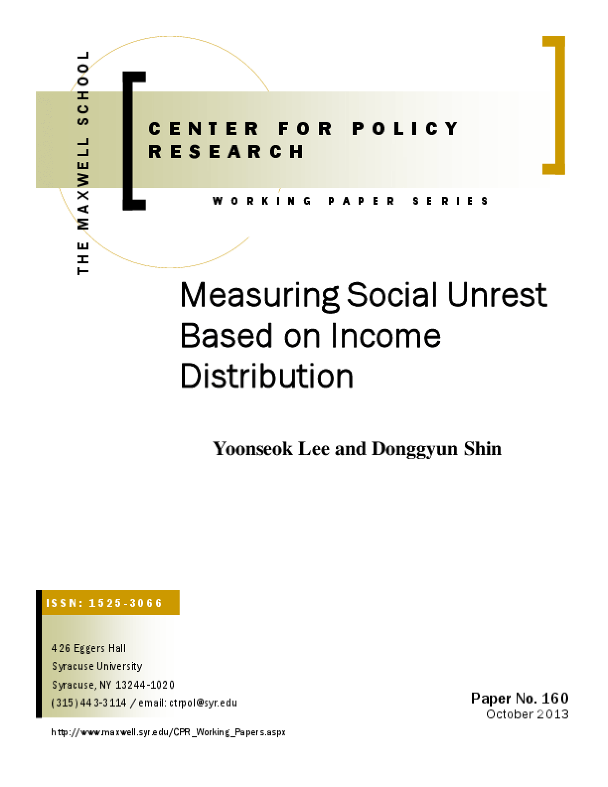 Measuring Social Unrest Based on Income Distribution