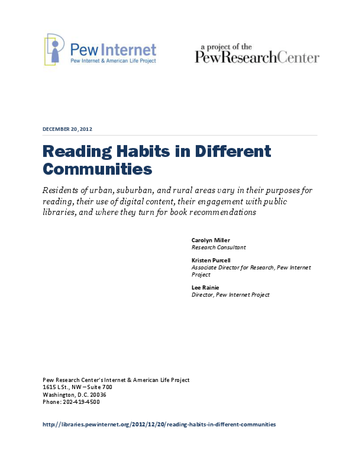 Reading Habits in Different Communities