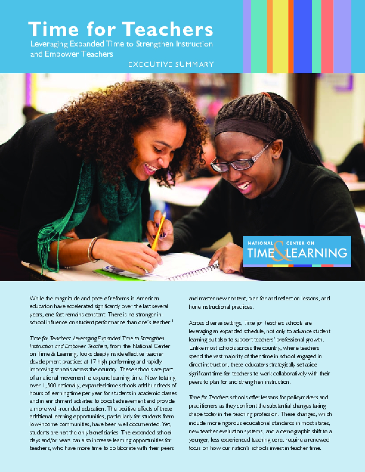 Time for Teachers: Leveraging Expanded Time to Strengthen Instruction and Empower Teachers