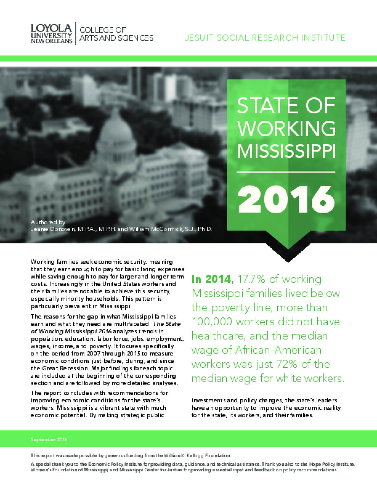 State of Working Mississippi, 2016