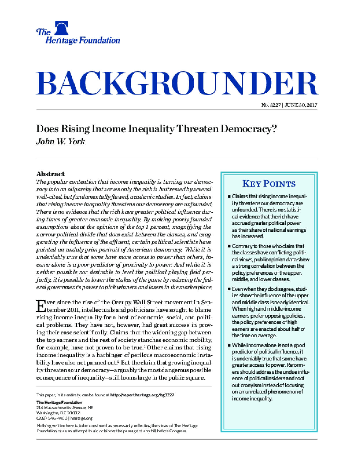 Does Rising Income Inequality Threaten Democracy?