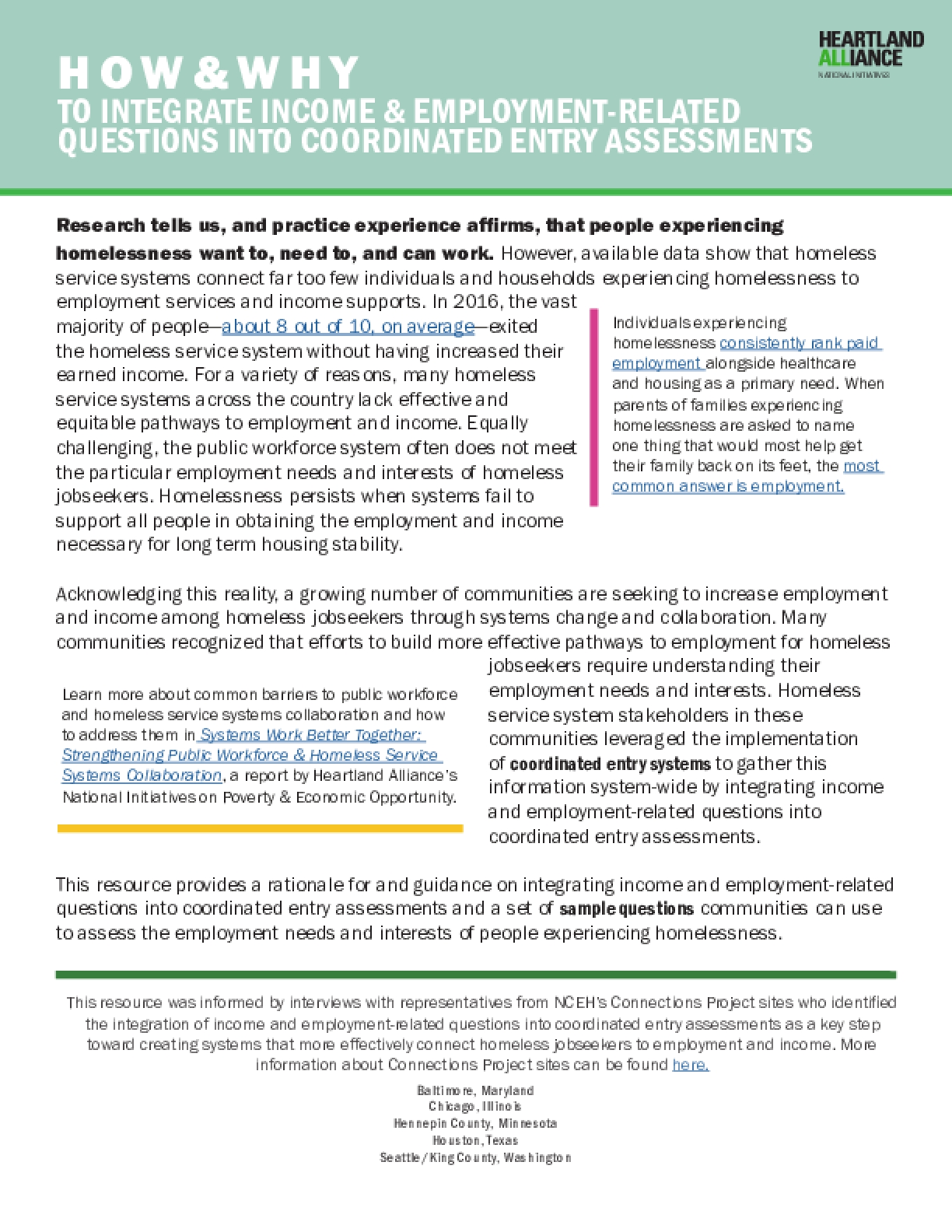 How and Why to Integrate Income & Employment-Related Questions Into Coordinated Entry Assessments