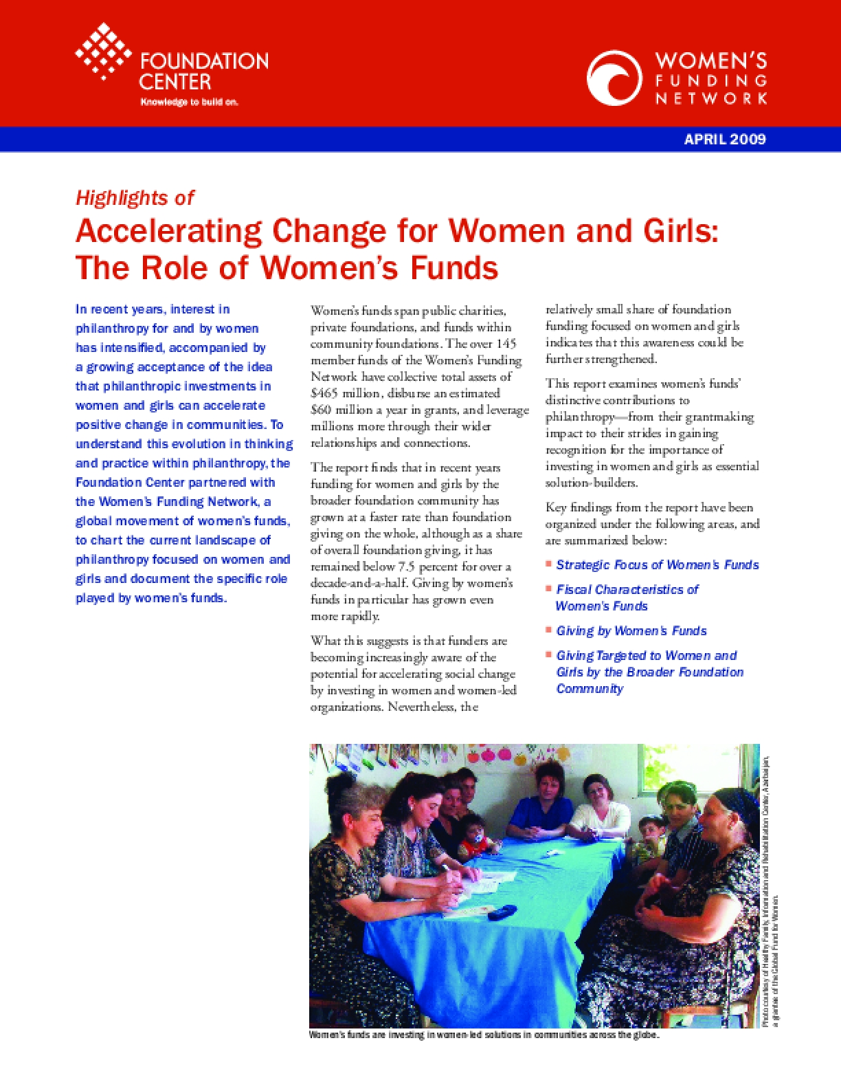 Accelerating Change for Women and Girls: The Role of Women's Funds (Executive Summary)