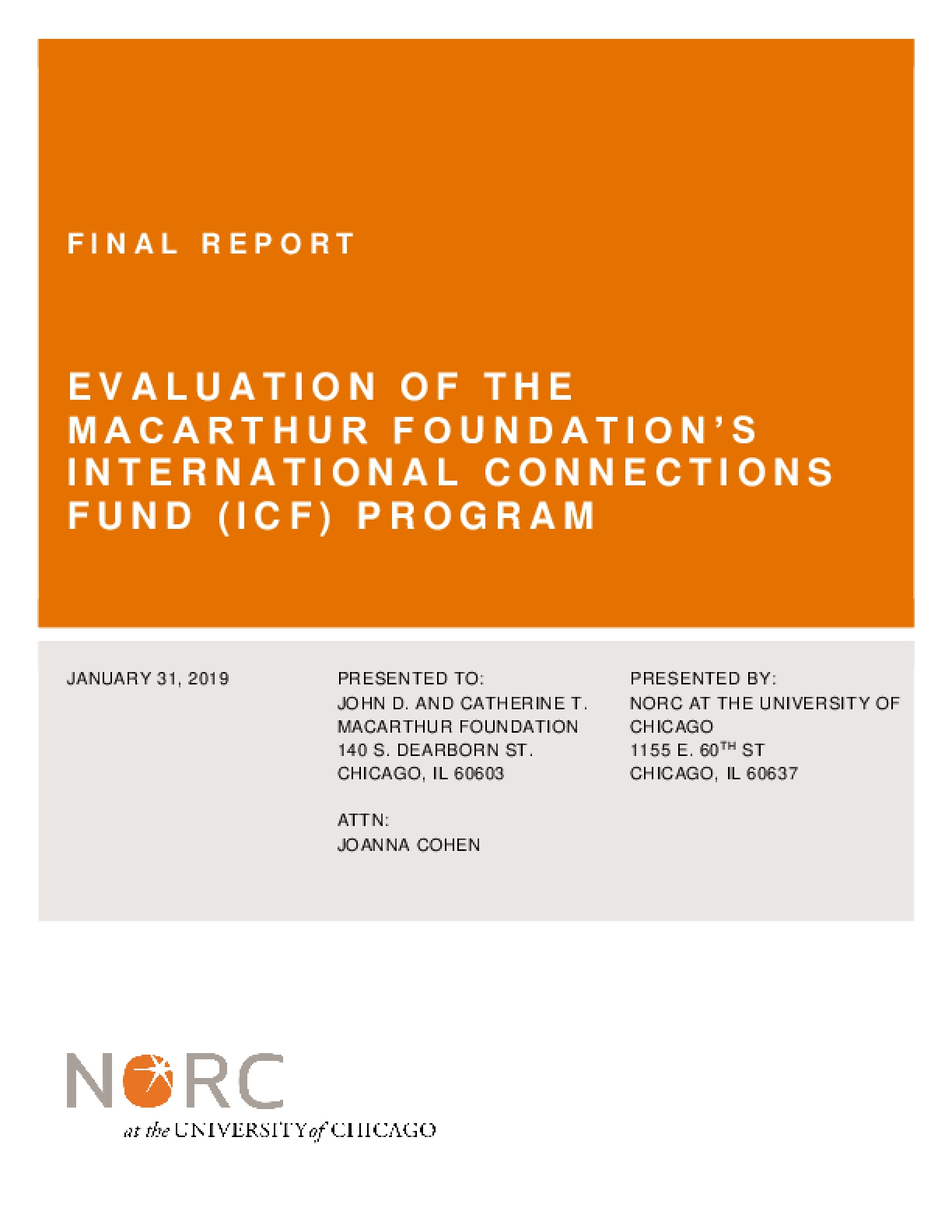Evaluation of the MacArthur Foundation's International Connections Fund (ICF) Program