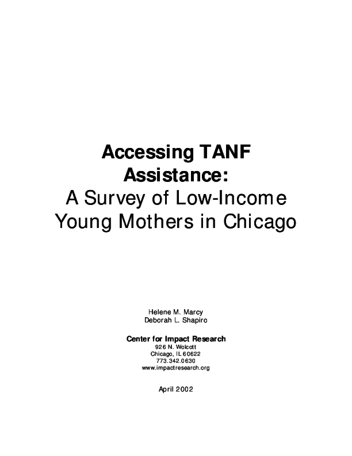 Accessing TANF Assistance: A Survey of Low-Income Young Mothers in Chicago