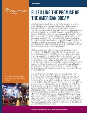 Fulfilling the Promise of the American Dream