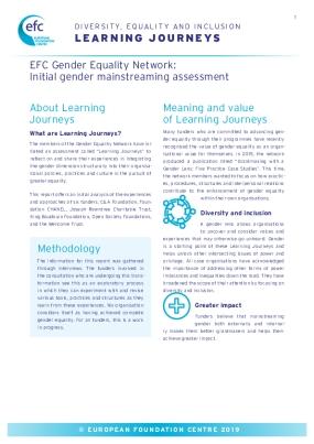 EFC Gender Equality Network: Initial Gender Mainstreaming Assessment