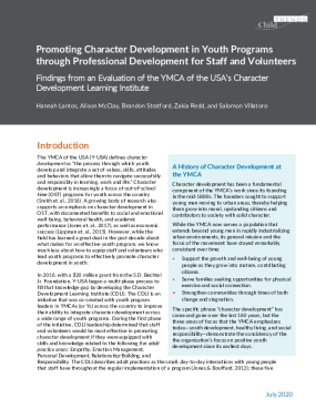 Promoting Character Development in Youth Programs through Professional Development for Staff and Volunteers: Findings from an Evaluation of the YMCA of the USA's Character Development Learning Institute