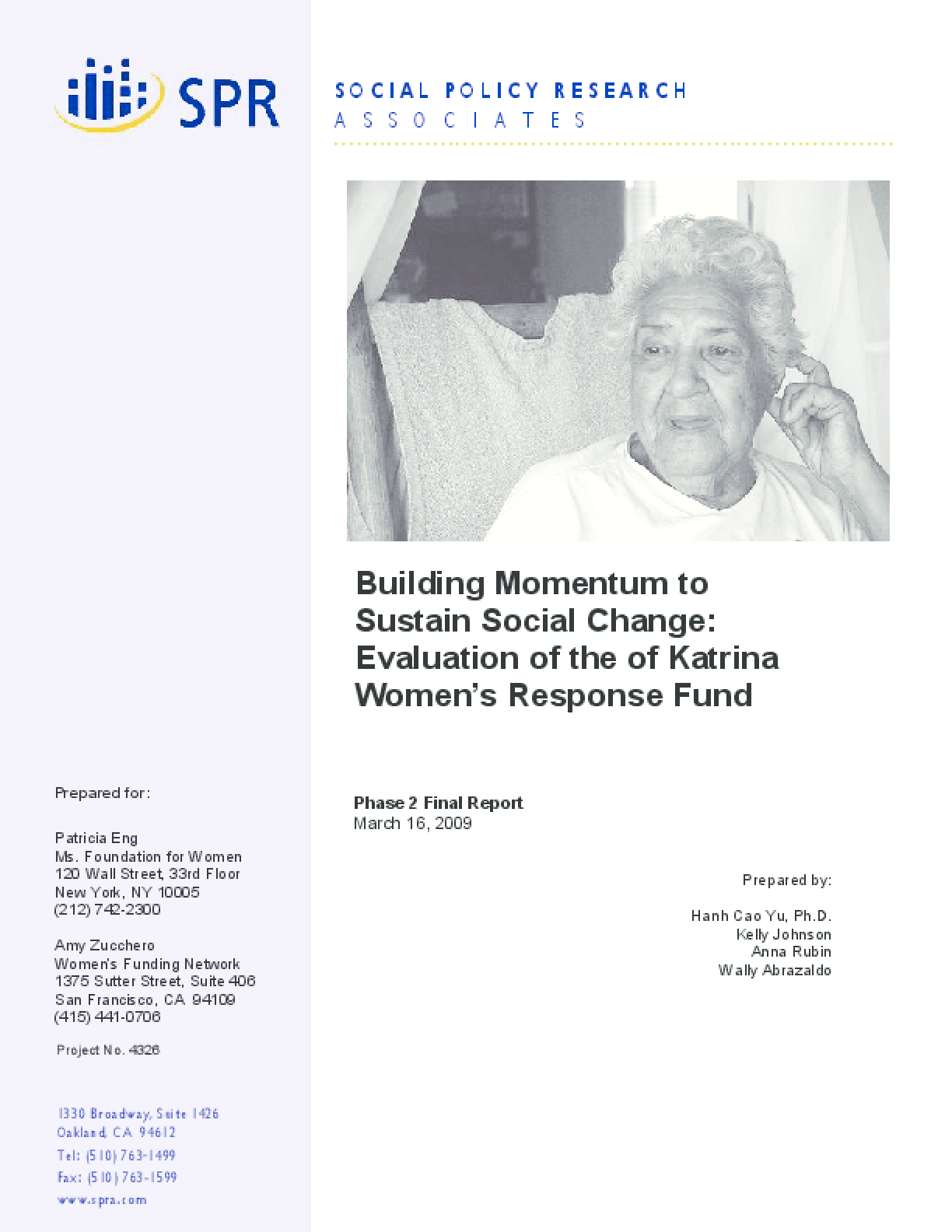Building Momentum to Sustain Social Change Evaluation of the of Katrina Women's Response Fund
