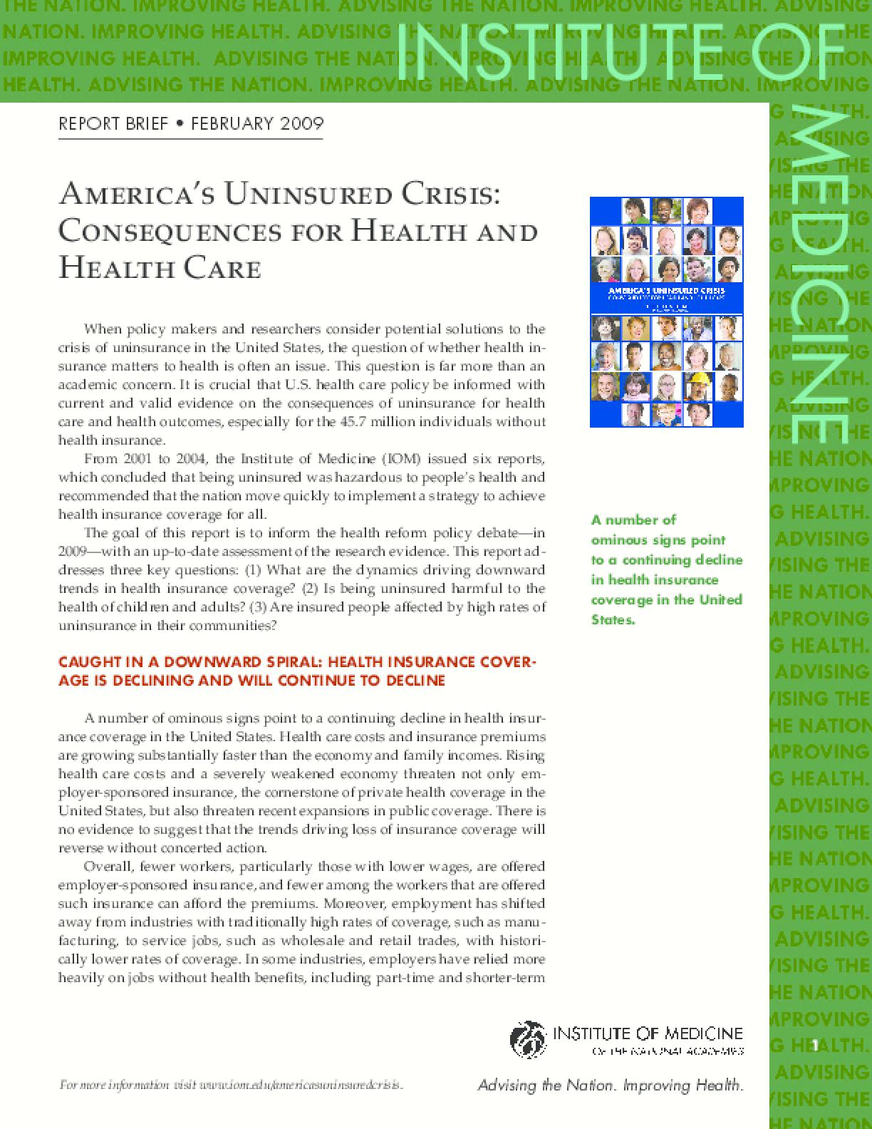 America's Uninsured Crisis